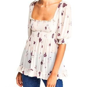 NWT Free People Delta Dawn Smocked Floral Top